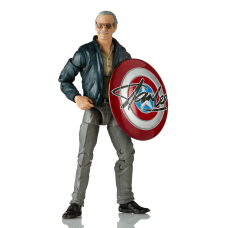 """6"""" Stan Lee with signed Captain America shield"""