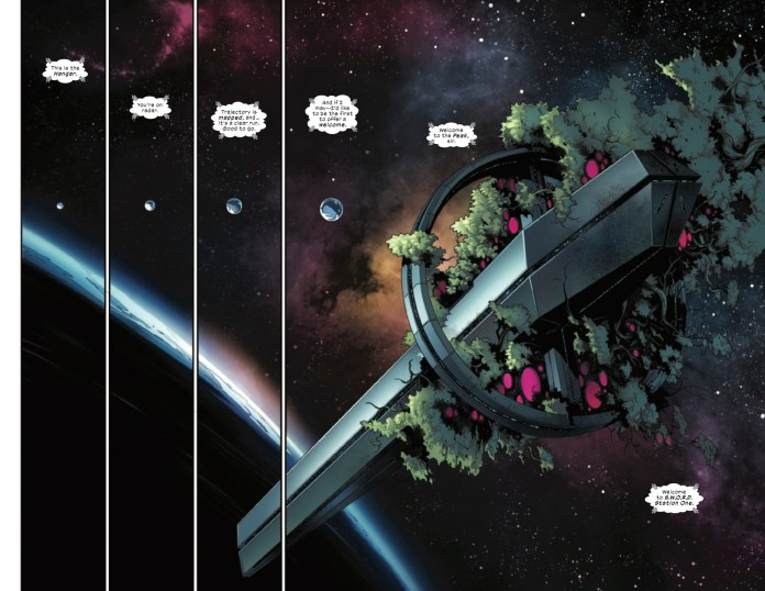 Double-page spread of the Peak space station from S.W.O.R.D. #1