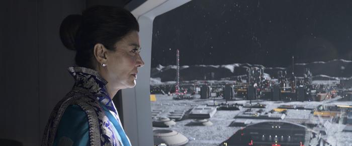 Chrisjen Avasarala (Shohreh Aghdashloo) ponders the future of her planet in