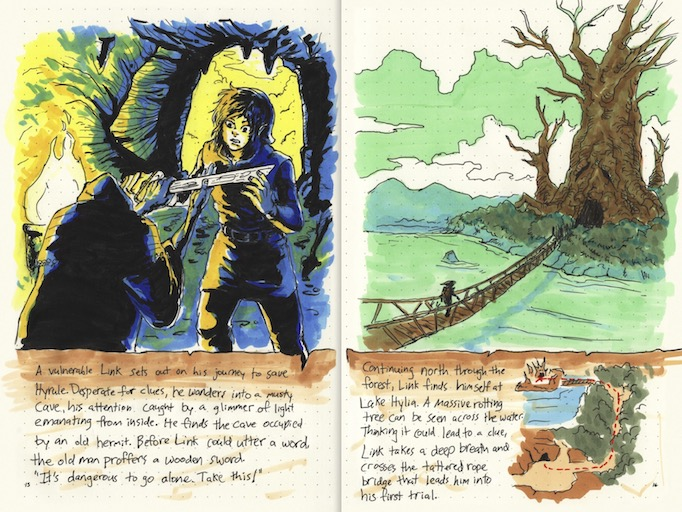 hand-drawn game guides adventure