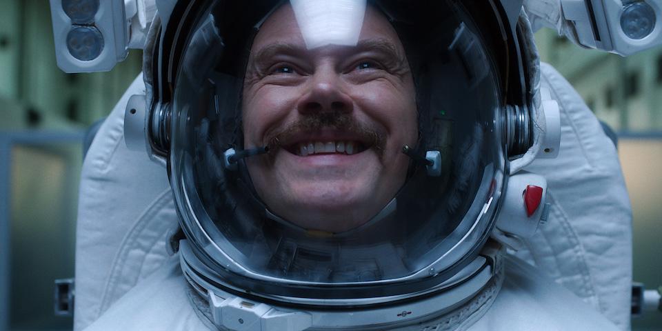"Gordo Stevens (Michael Dorman) endures his training for space in ""The Weight"""