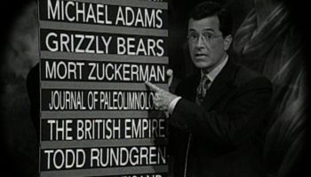 """""""Stephen Colbert"""" with his """"on notice"""" board: toxic fandoms could use a spot"""