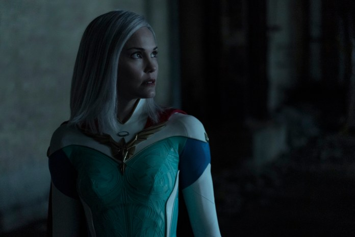 Grace Sampson (Leslie Bibb) is the queen of the supers in Jupiter's Legacy