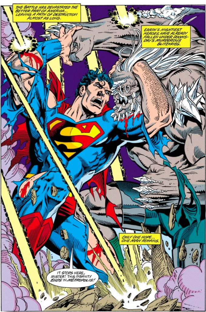 Superman and Doomsday fight on the first page of Superman #75