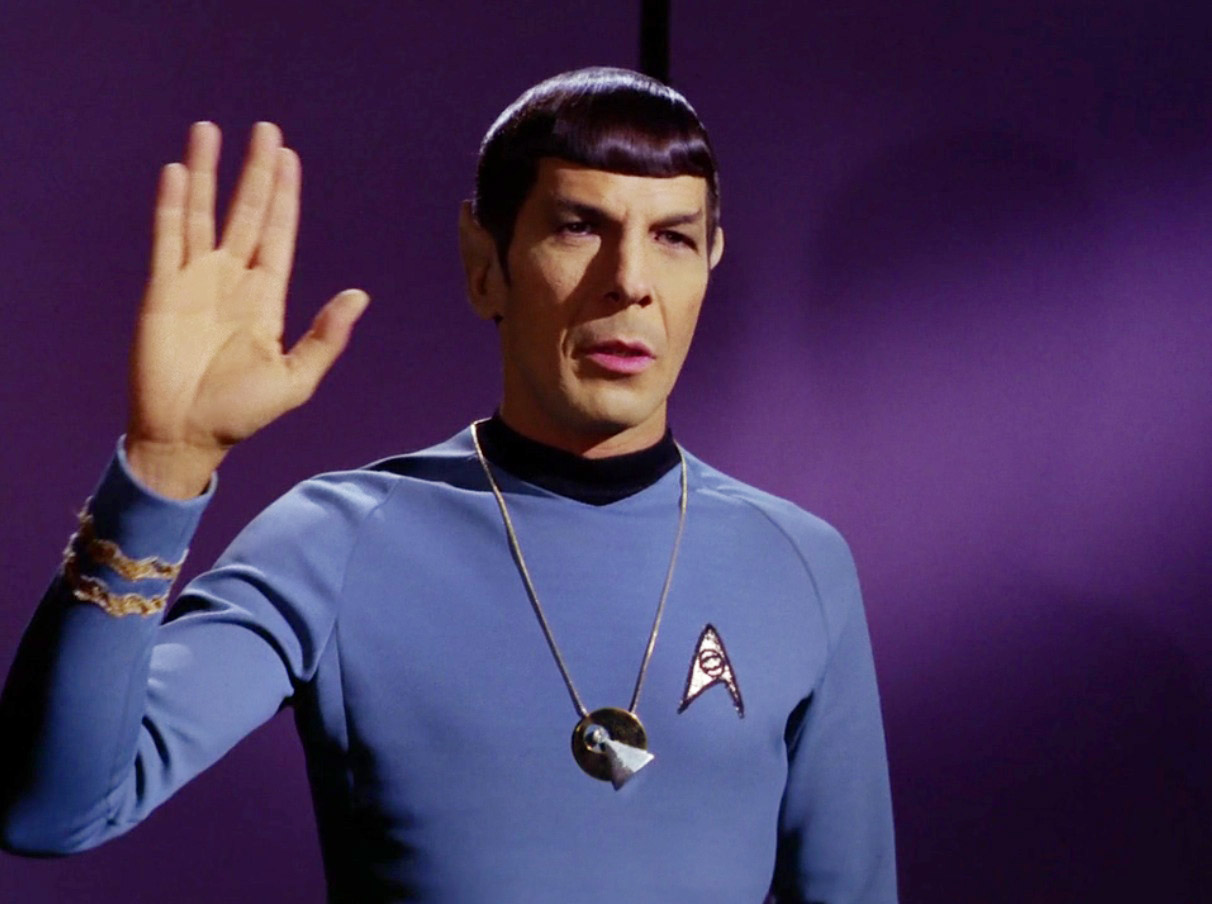 Spock (Leonard Nimoy) wearing an IDIC necklace would say the end of fandom is illogical