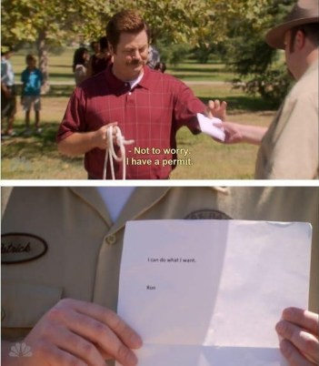 Ron Swanson on PARKS AND RECREATION does whatever he wants, much like creators according to annoying fandoms
