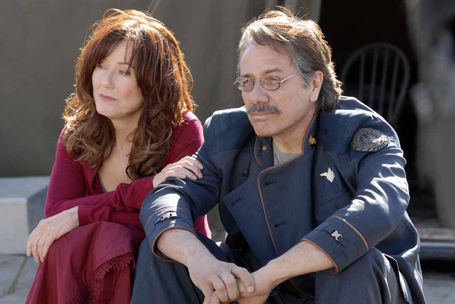 Edward James Olmos and Mary McDonnell in BATTLESTAR GALACTICA