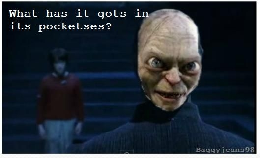 gollum on the back on voldemorts head saying a quote from