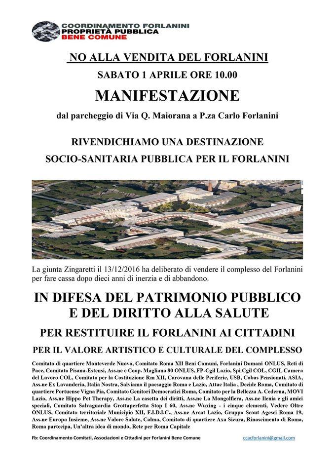 Sabato 1 aprile manifestazione cittadina contro la vendita del Forlanini