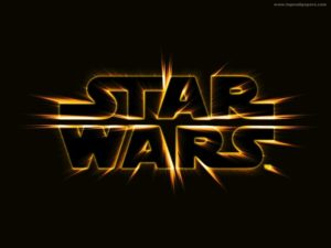 Star Wars logo - gold on black, burst effect