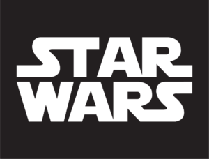Star Wars logo - white on grey