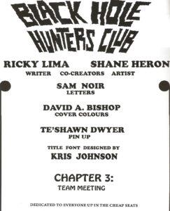 BLACK HOLE HUNTERS CLUB #3 credits