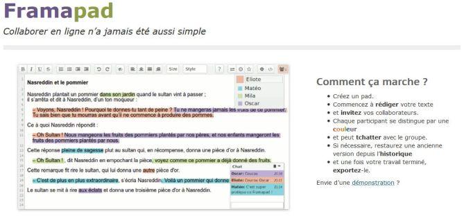Framapad - Éditeur de texte collaboratif