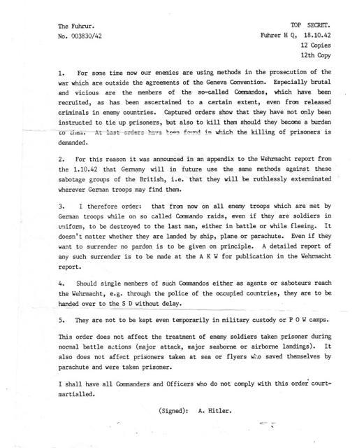 Hitler's infamous  Commando Order
