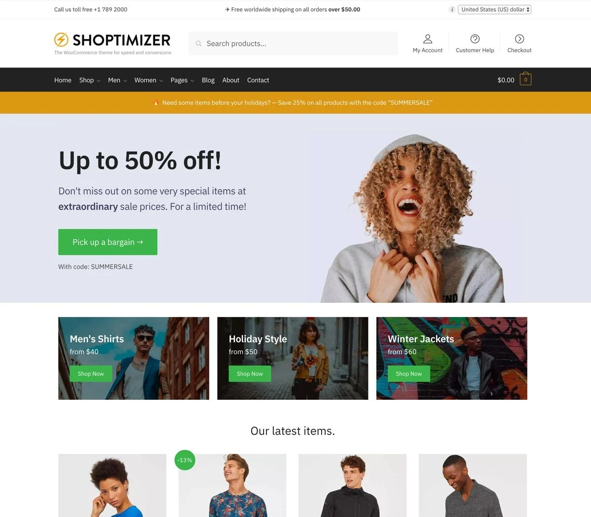 Shoptimizer WooCommerce Theme on Desktop