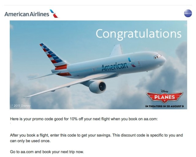 American Airlines sometimes include a discount code after booking