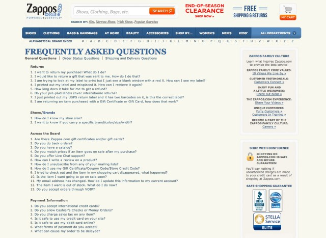 Zappos breaks the questions down into convenient headings.