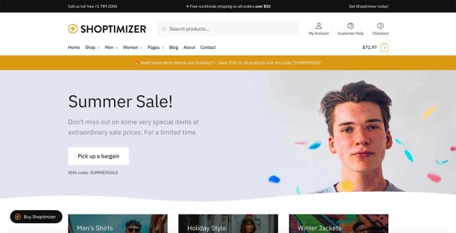 Shoptimizer WooCommerce Theme homepage (without slider)