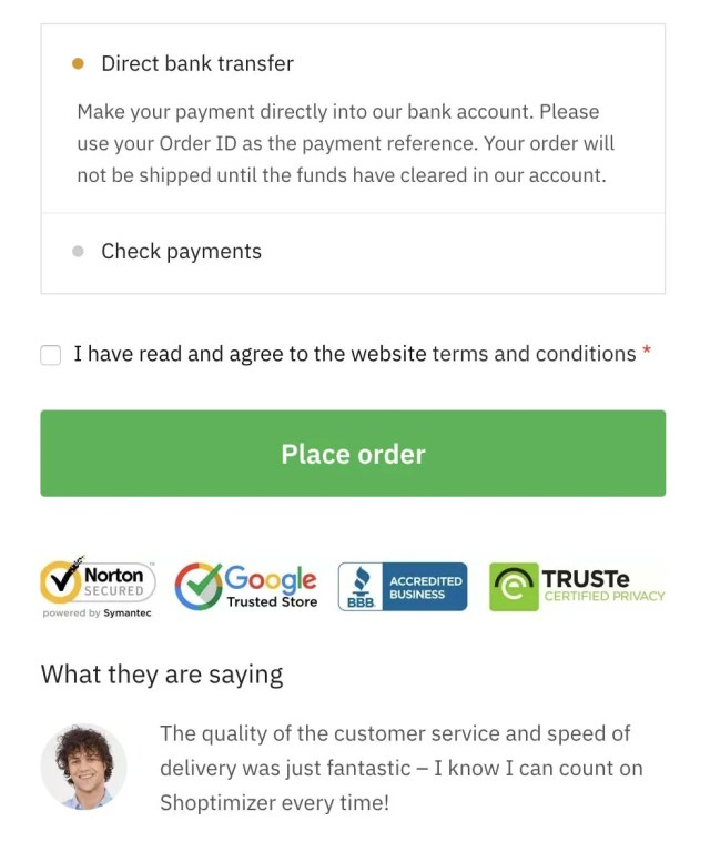 Trust logos and testimonial on the checkout within the Shoptimizer WooCommerce theme