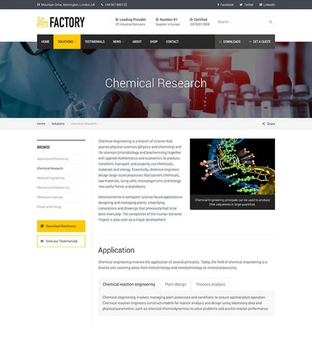 Factory - chemical research page