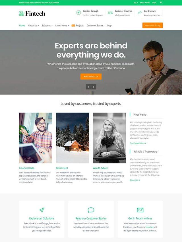 Fintech homepage