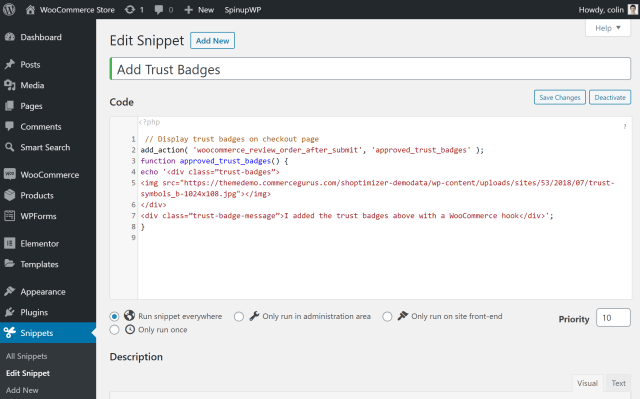 Adding WooCommerce hooks in Code Snippets