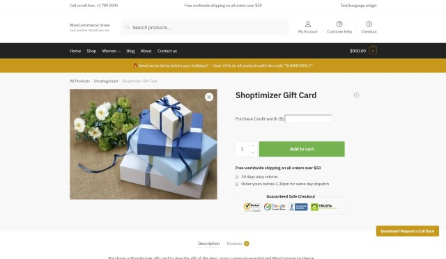 WooCommerce gift card example