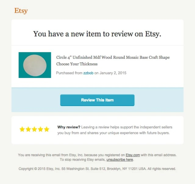 Etsy example how to ask for a review