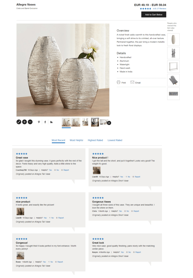 Crate and Barrel product page