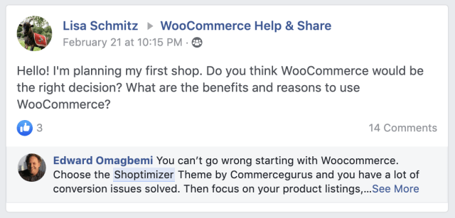 Shoptimizer word of mouth example