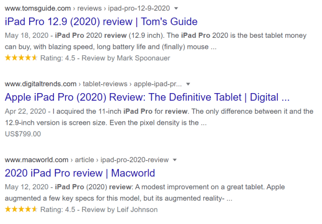 Rich snippet example in Google SERPs