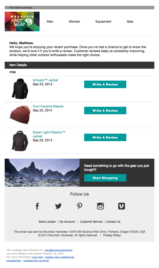 Mountain Hardware review request email