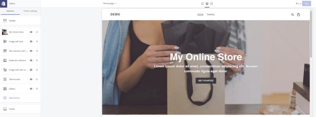 Shopify interface