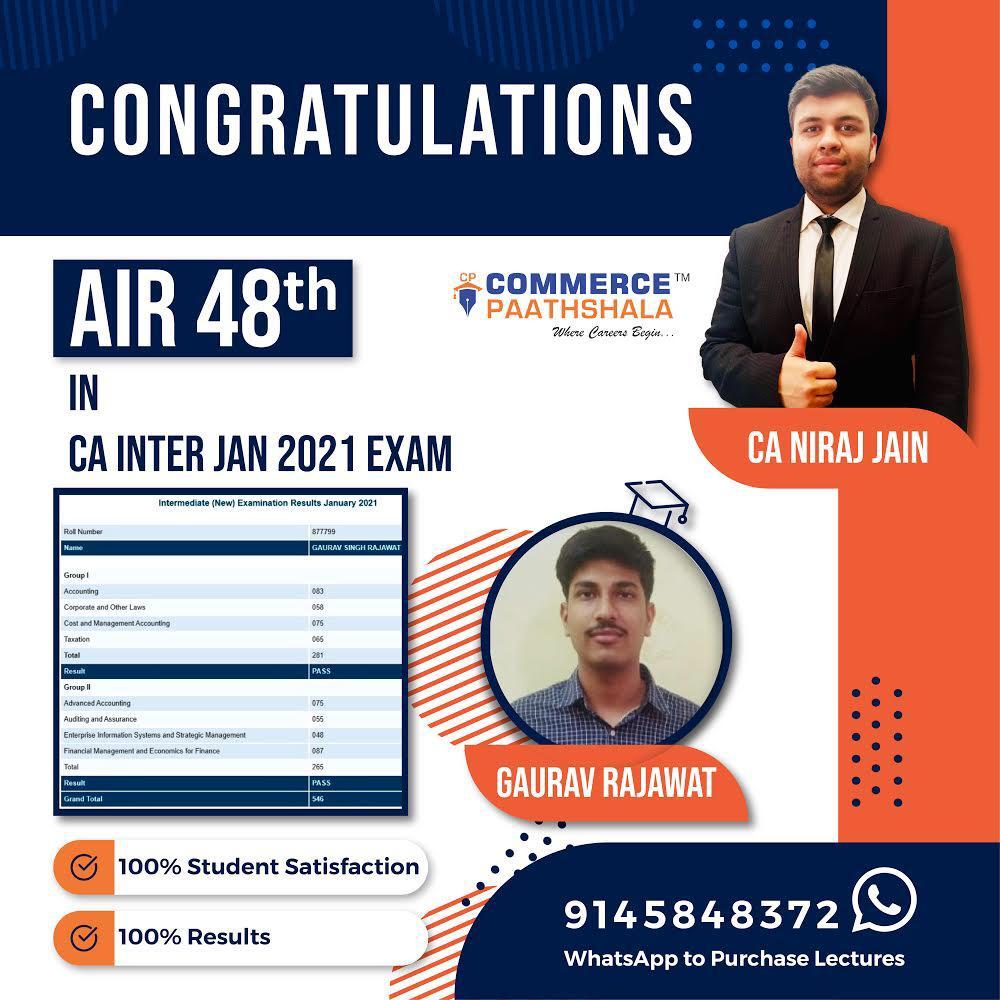 CA Inter Jan 2021 Exam Result - AIR 48th Rank