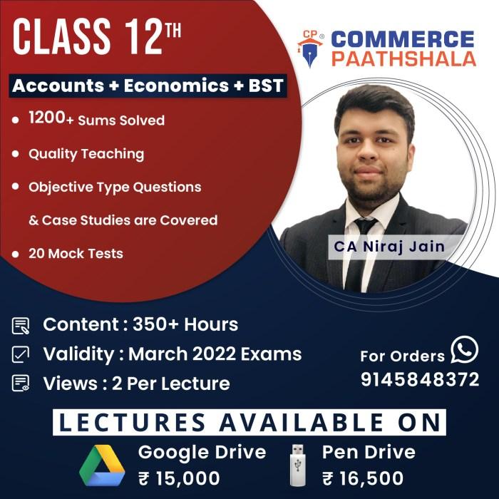 Class 12th Combo (Accounts + Economics + BST)