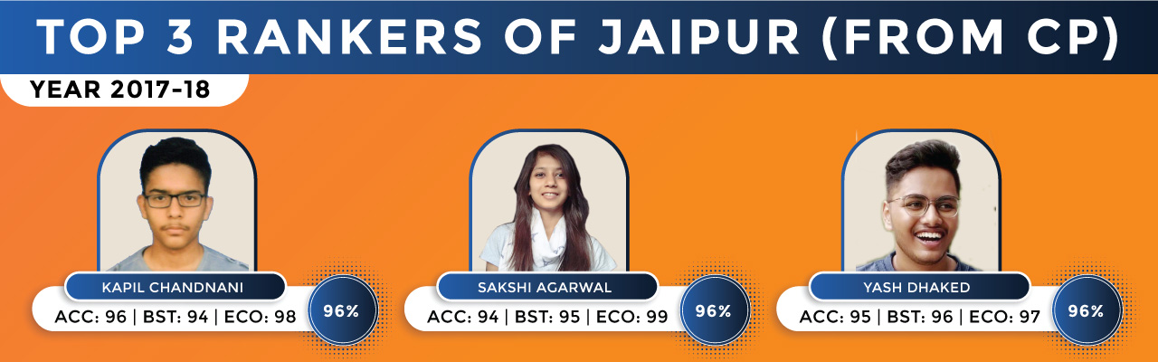 Class 12th Commerce Top 3 Rankers of Jaipur Results 2017-18
