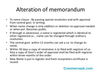Alteration of Memorandum of Association