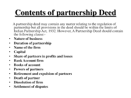 What is Partnership Deed and Discuss its Contents
