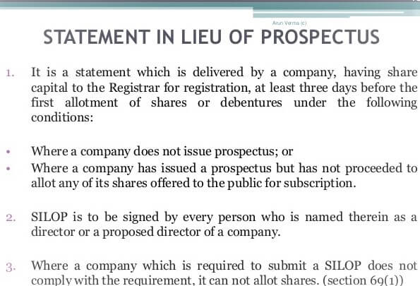 Statement in lieu of Prospectus   Explained Completely