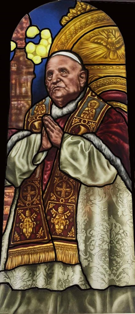 Church Stained Glass Praying Pope