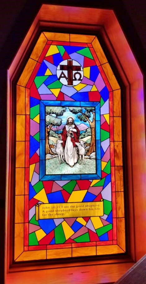Religious Stained Glass jesus cross