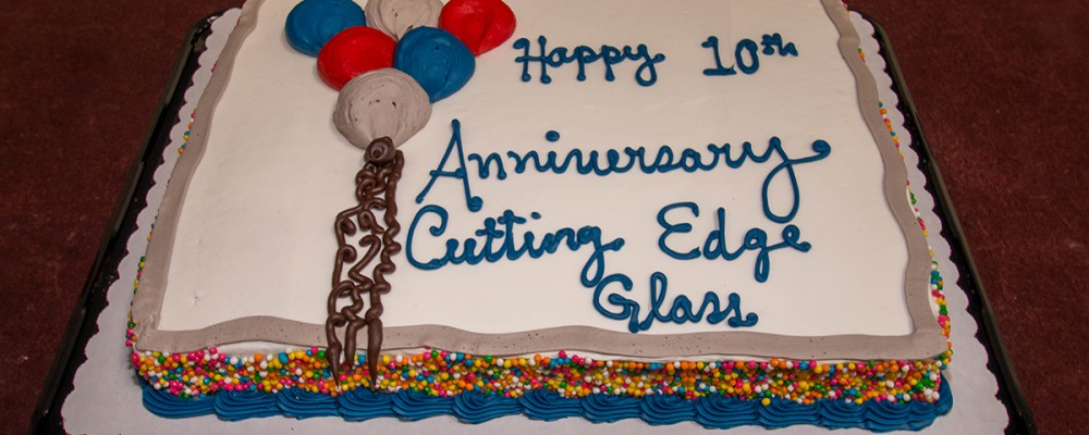 A Cutting Edge Glass & Mirror - 10th Anniversary Celebration Cake