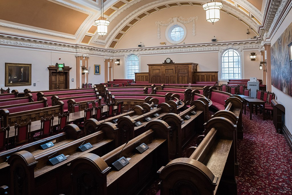 Interior of Stoke on Trent town hall council chamber