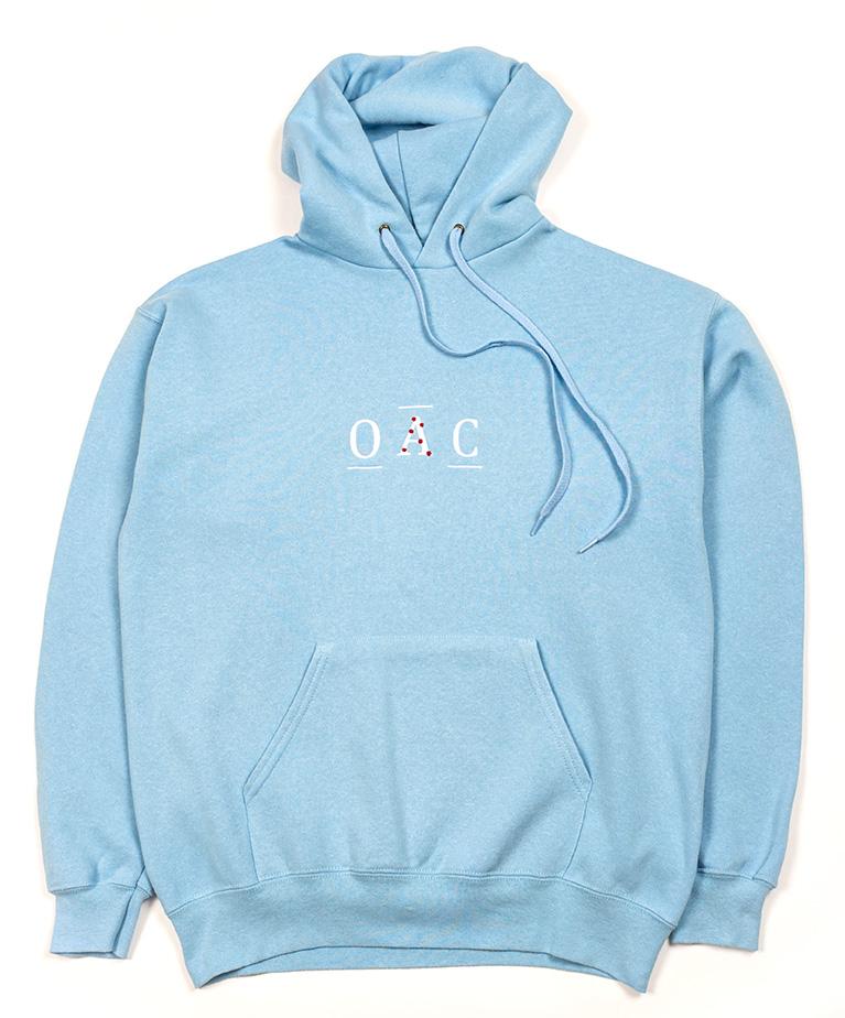 product photography shot of blue hooded sweatshirt layflat on white background