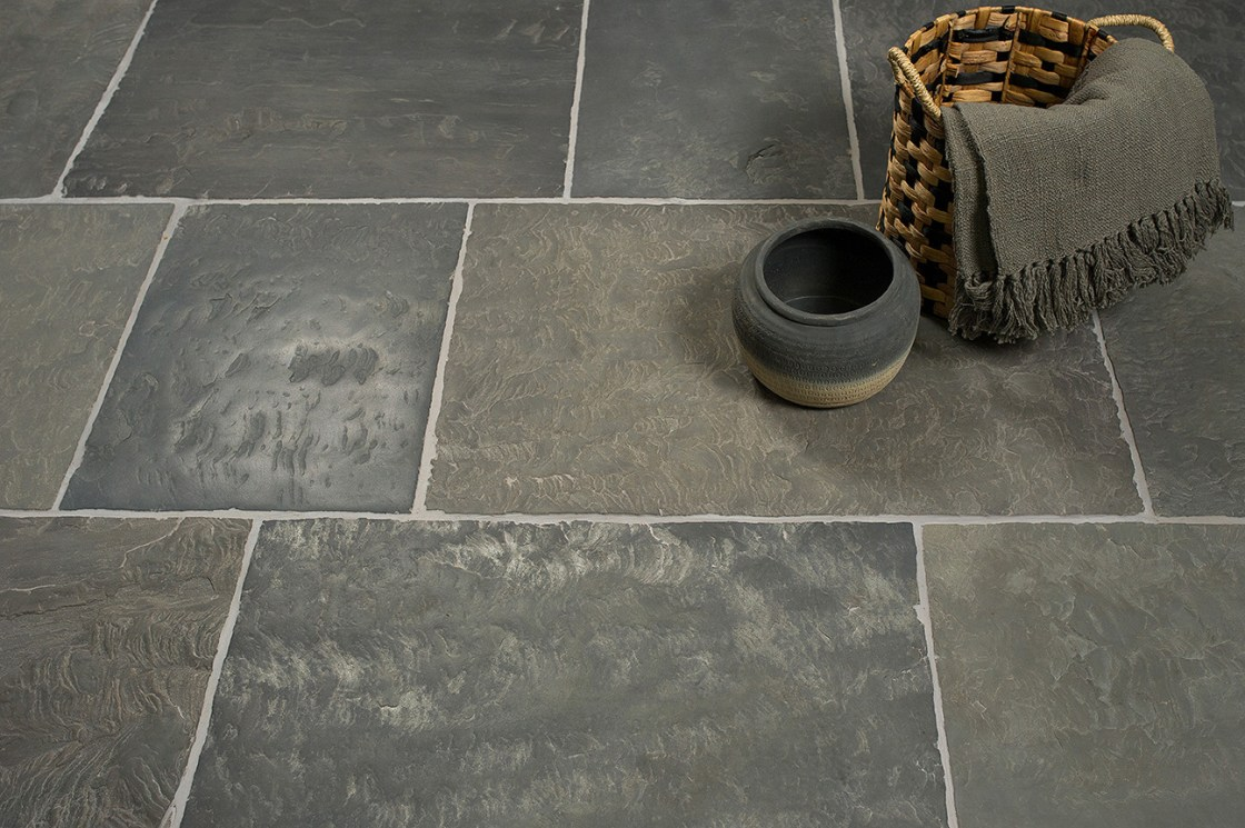 lifestyle product photography of stone floor tiles