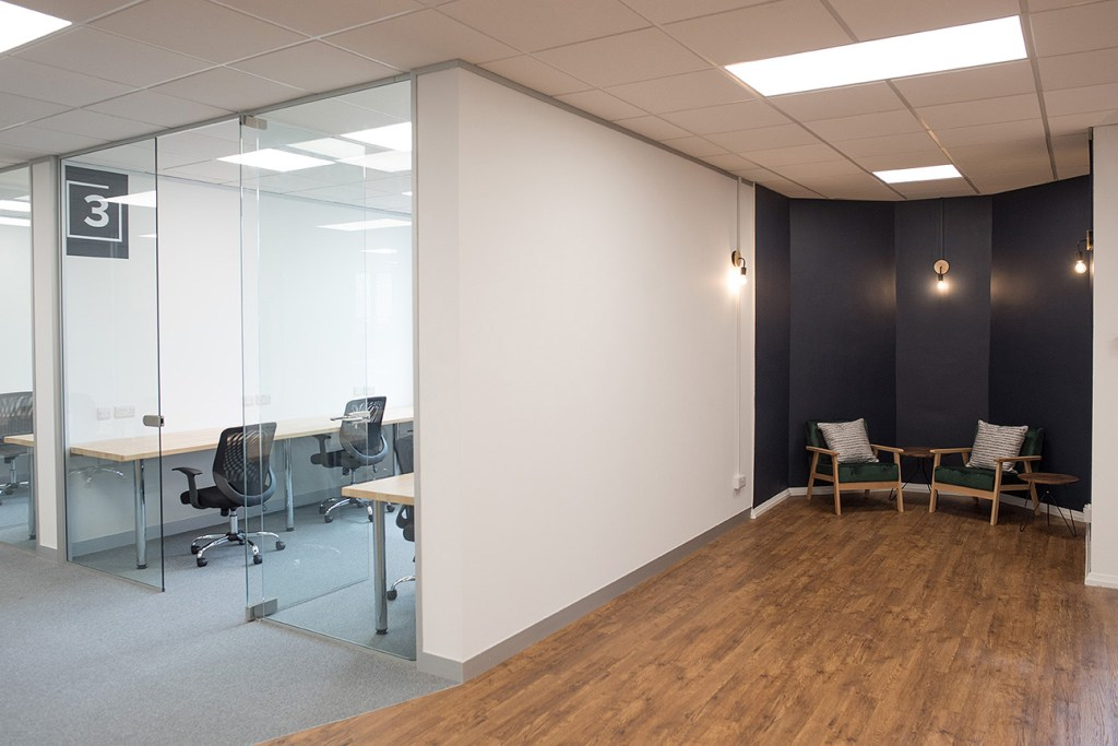 Altspace Warrington marketing photoshoot image of private office and break out area