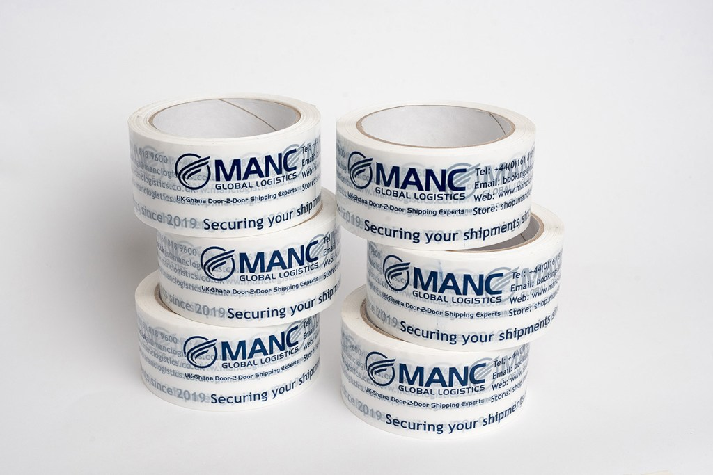 product photography of six rolls of branded packing tape
