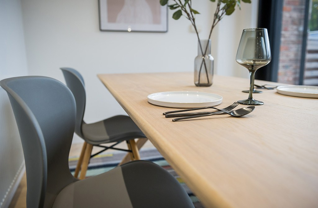 close up of table and chair in show home marketing photo
