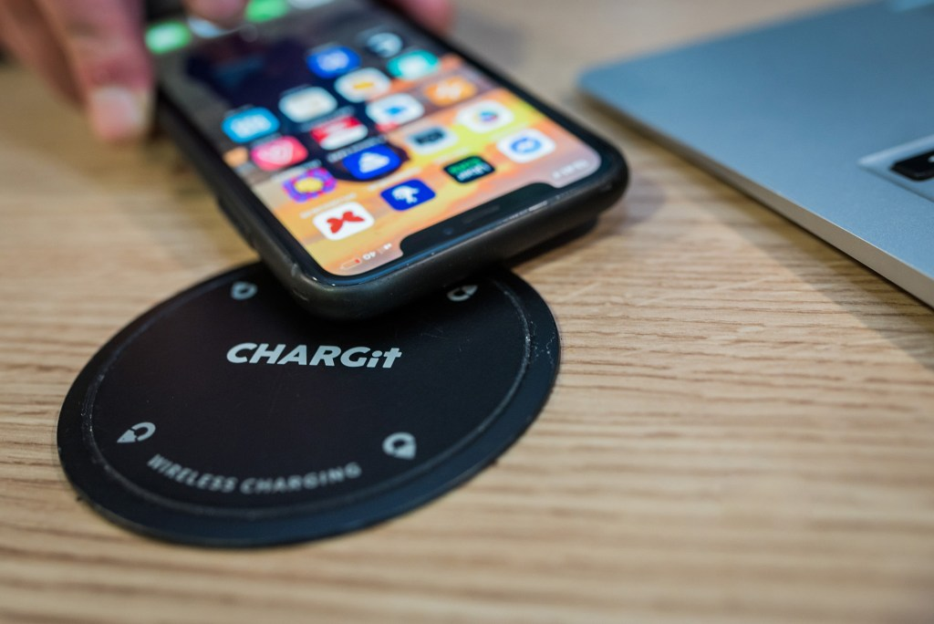wireless phone charging point with phone