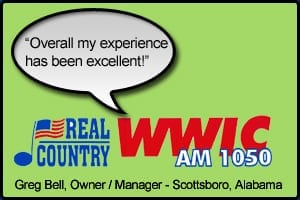 "WWIC Testimonial stating ""Overall my experience has been excellent"" - Greg Bell, Station Owner - Scottsboro, Alabama"